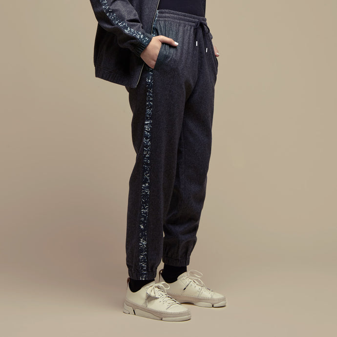 Grey Flannel Wool Joggers Pants