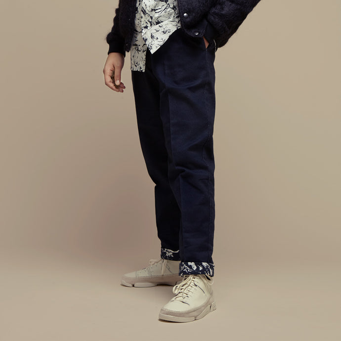 Black Cotton Setback Pants