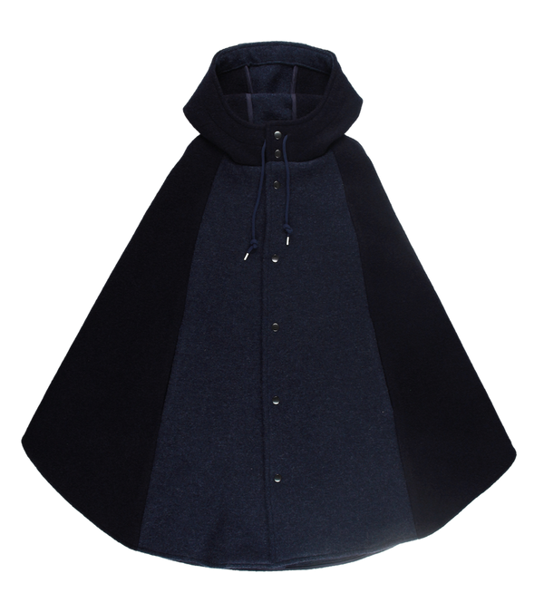 MELANGE - Navy Boiled Wool Cape