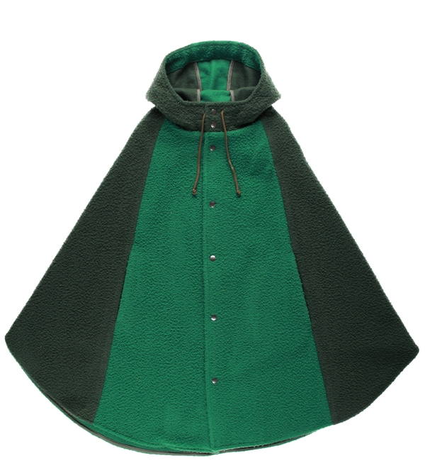 MELANGE - Green Boiled Wool Cape