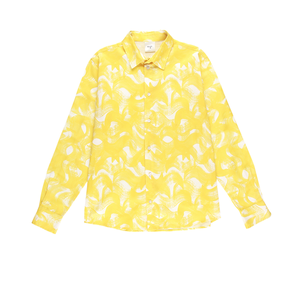 MELANGE - Yellow Connection Cotton Poplin Printed Shirt