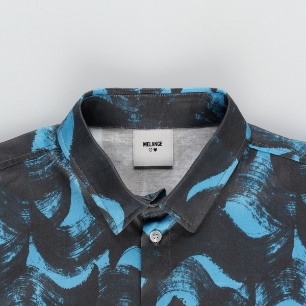 MELANGE - Blue Connection Cotton Poplin Printed Shirt