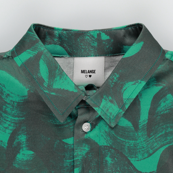 MELANGE - Green Connection Cotton Poplin Printed Shirt