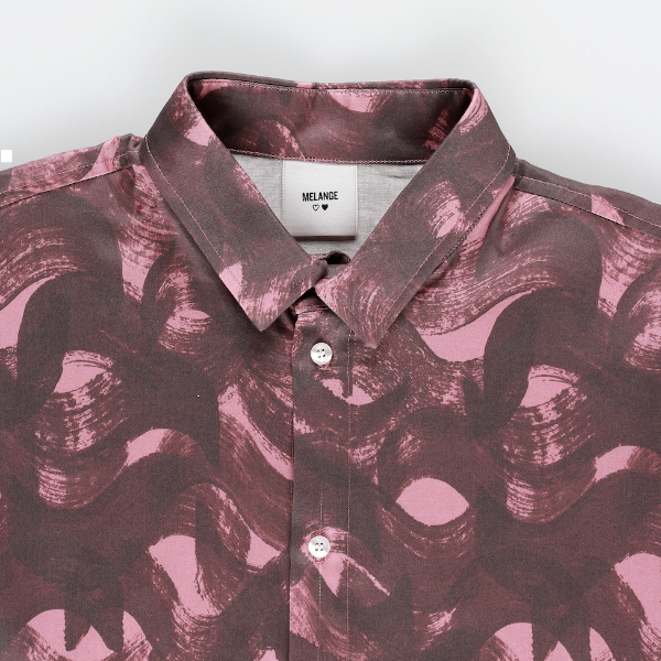 MELANGE - Bordeaux Connection Cotton Poplin Printed Shirt