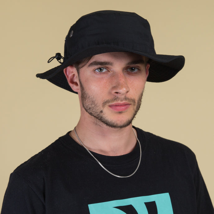 Explorer Black Bucket Hat