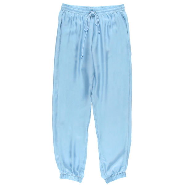 MELANGE Light Blue Cupro Joggers Pants