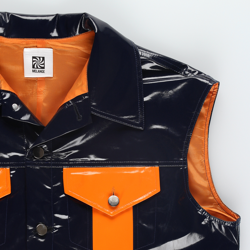 MELANGE Black & Orange Vinyl Sleeveless Trucker Jacket