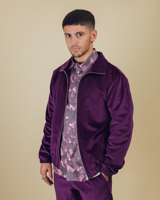 Purple Velvet Track Jacket