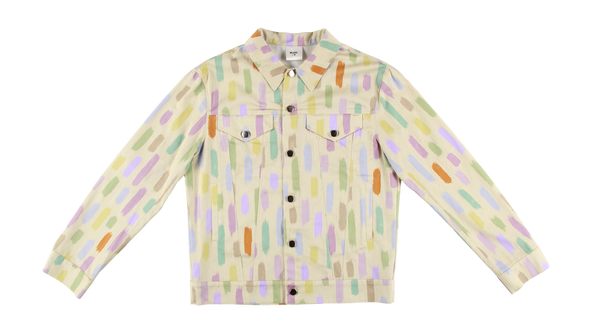 MELANGE - Multicolor Printed Cotton Trucker Jacket