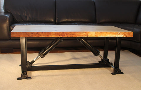 Live Edge Hydraulic Coffee Table Side View