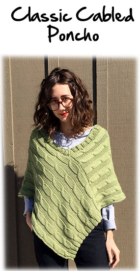 Classic Cabled Poncho Knitting Pattern