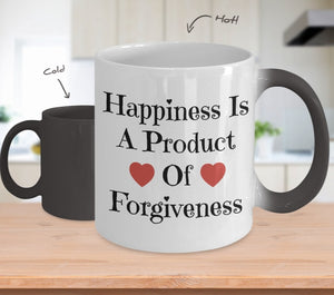 Happiness Is A Product of Forgiveness Color Changing Coffee Mug