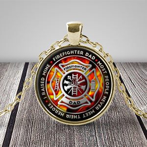 Necklace - Proud Firefighter Dad Pendant Necklace