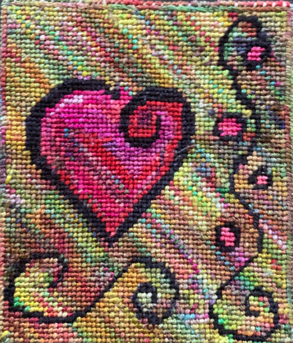 needlepoint heart made with handpainted silk