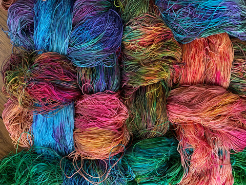 Hand-painted silk yarn