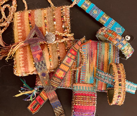 Handwoven purses and cuffs