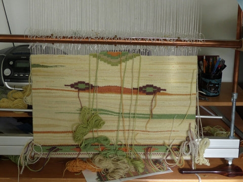 tapestry on loom