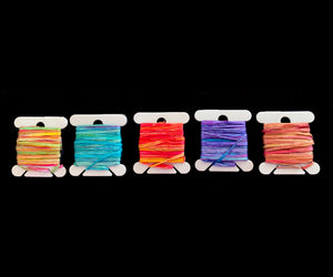 5 Six-Yard Bobbins of Hand-Painted Silk Gima Tape Yarn