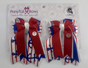 Anchors Red PonyTail Bows