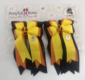 "PonyTail Bows 3"" Tails Black Glitter Base PonyTail Bows equestrian team apparel online tack store mobile tack store custom farm apparel custom show stable clothing equestrian lifestyle horse show clothing riding clothes PonyTail Bows 