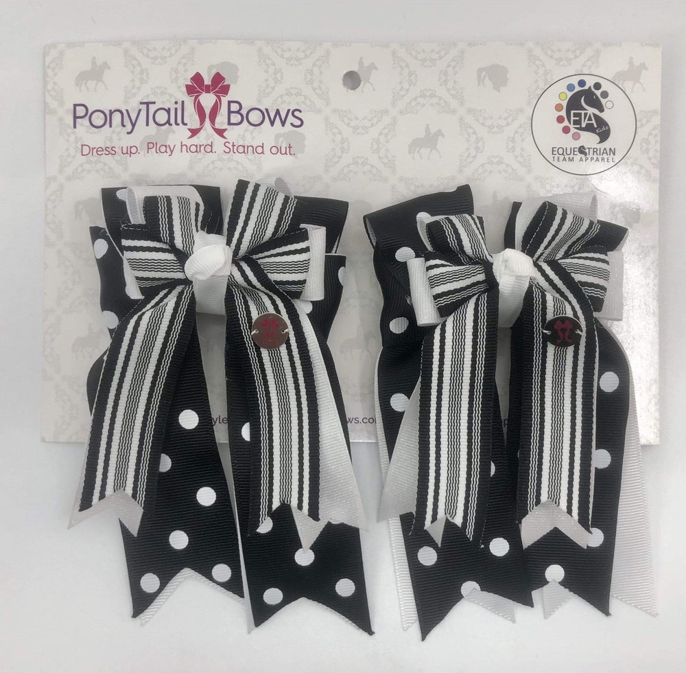 Black & White Polka Dots PonyTail Bows