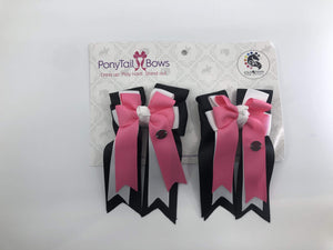Black White Pink PonyTail Bows