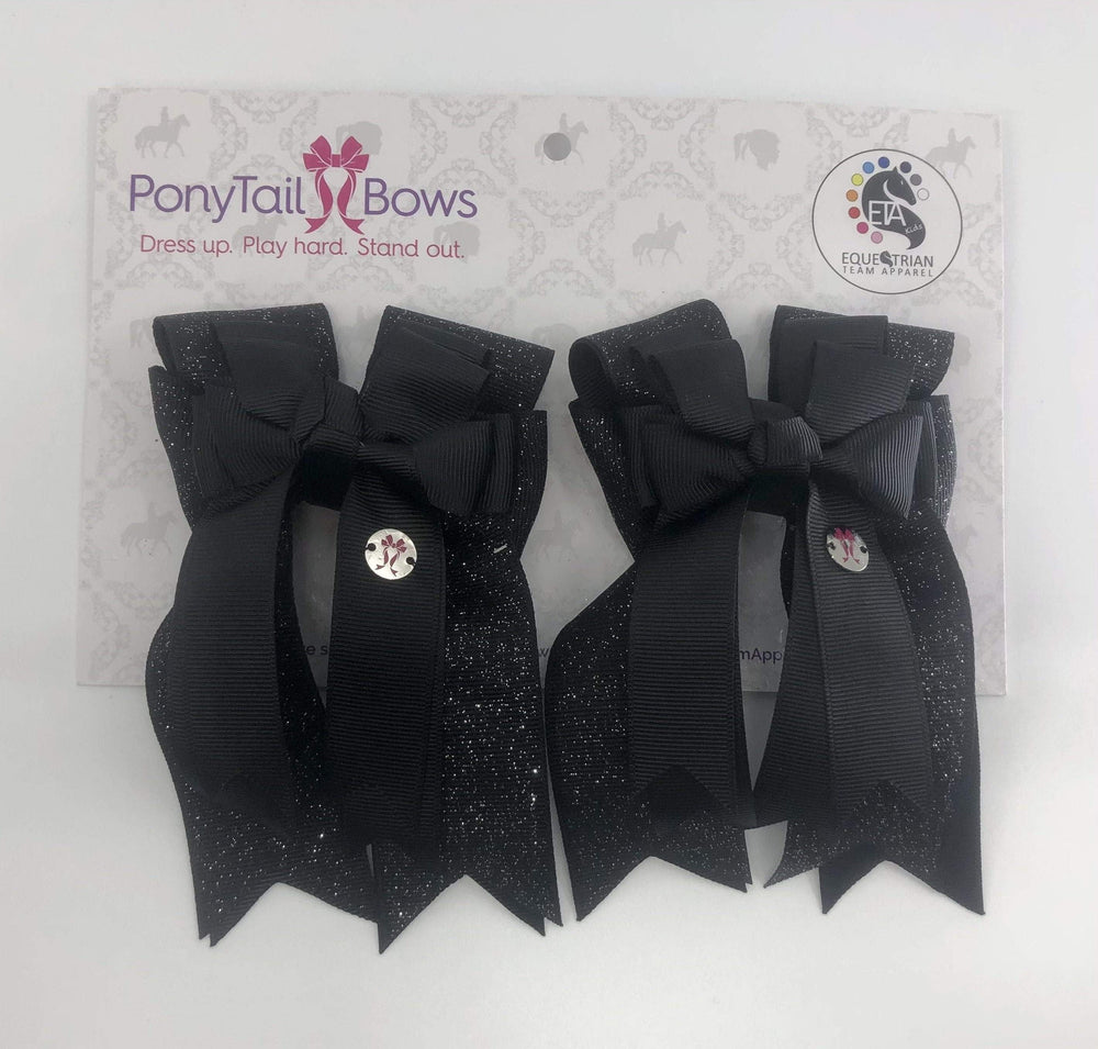 Black Solid PonyTail Bows