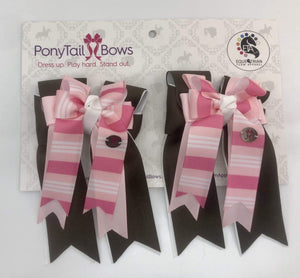 Brown Pink Stripes PonyTail Bows