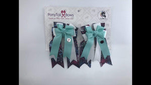 Teal Topper Snowflakes PonyTail Bows