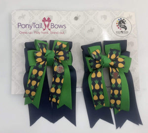 Green Navy Pineapple PonyTail Bows
