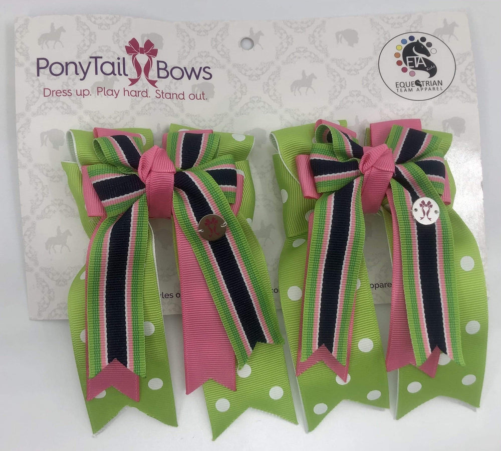 Green Polka Dot PonyTail Bows