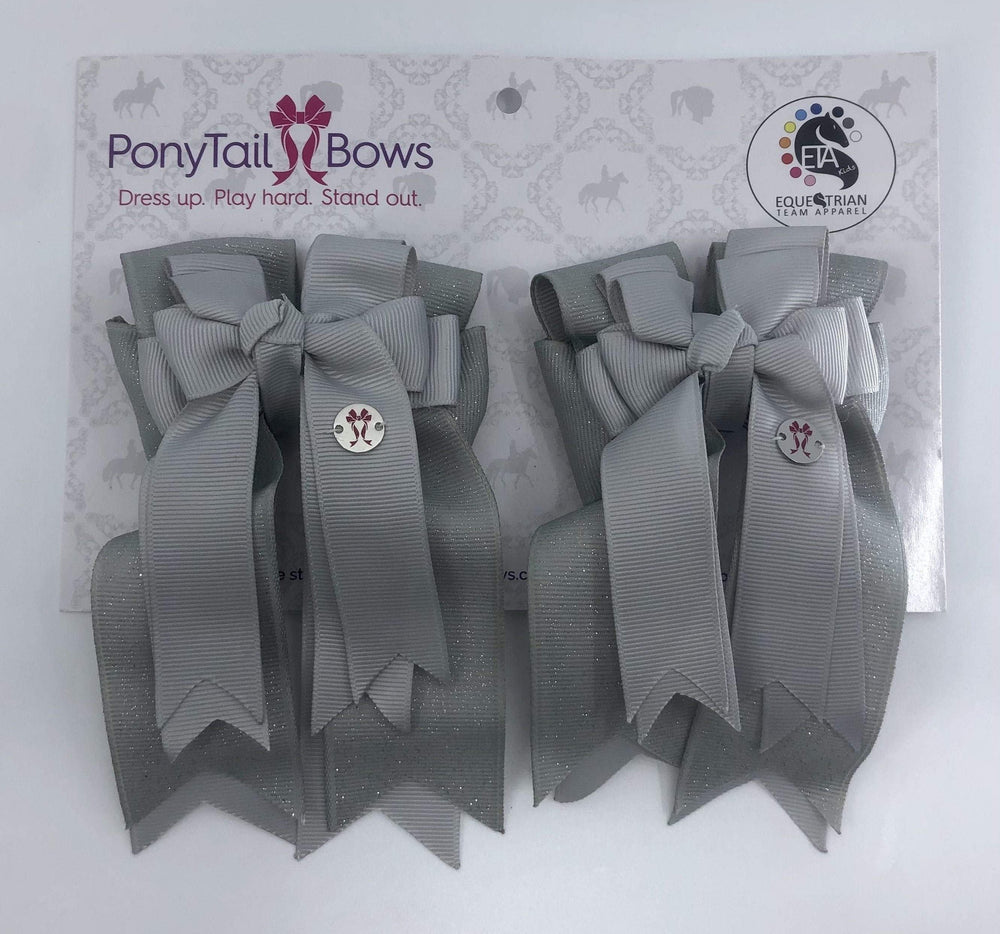Grey PonyTail Bows