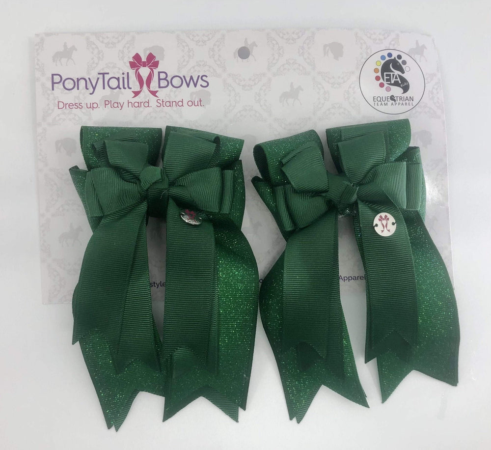 Hunter Green Solid PonyTail Bows