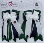 Hunter   White/Navy/Green PonyTail Bows
