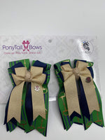 Lucky Bits/Navy Green PonyTail Bows