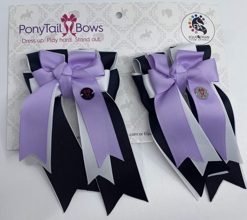 Black White Lavender PonyTail Bows