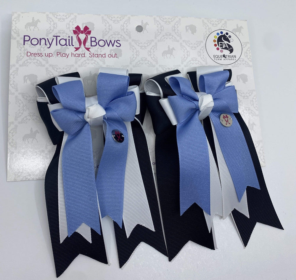 Black White Cornflower PonyTail Bows