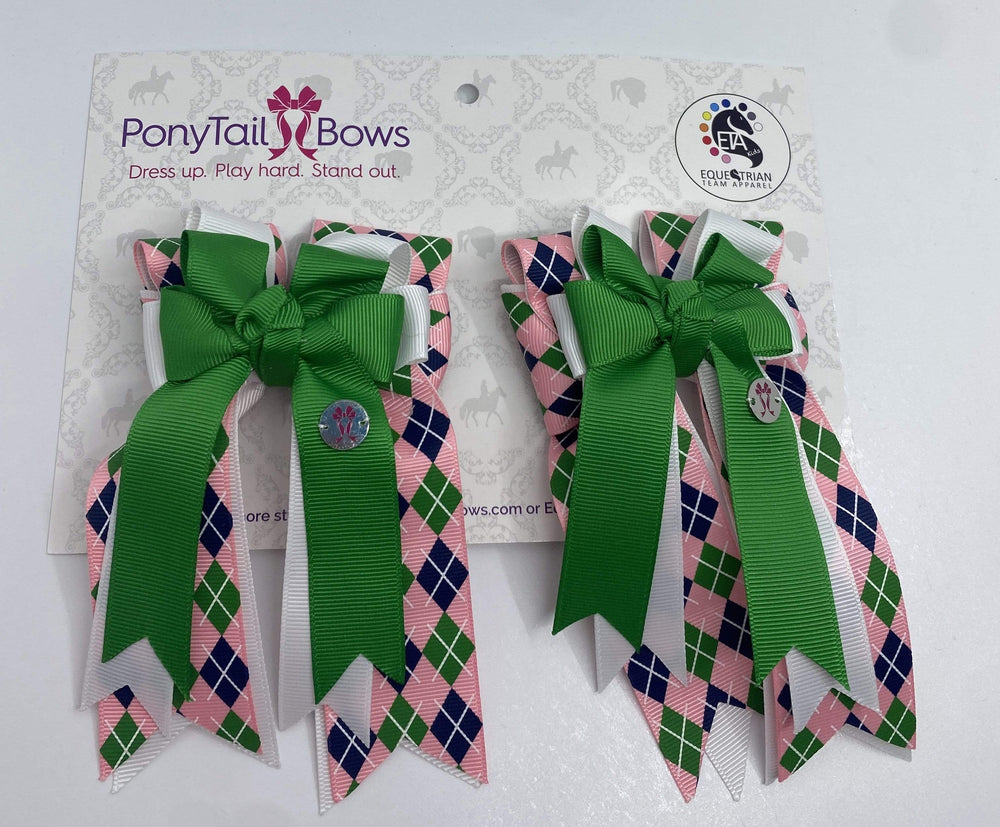 "PonyTail Bows 3"" Tails Argyle Kelly Green PonyTail Bows equestrian team apparel online tack store mobile tack store custom farm apparel custom show stable clothing equestrian lifestyle horse show clothing riding clothes PonyTail Bows 