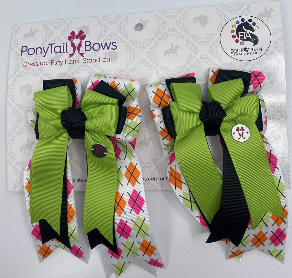 Argyle Lime/Black PonyTail Bows