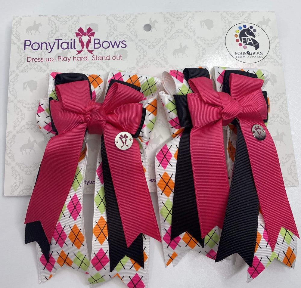 Argyle Pink/Black PonyTail Bows
