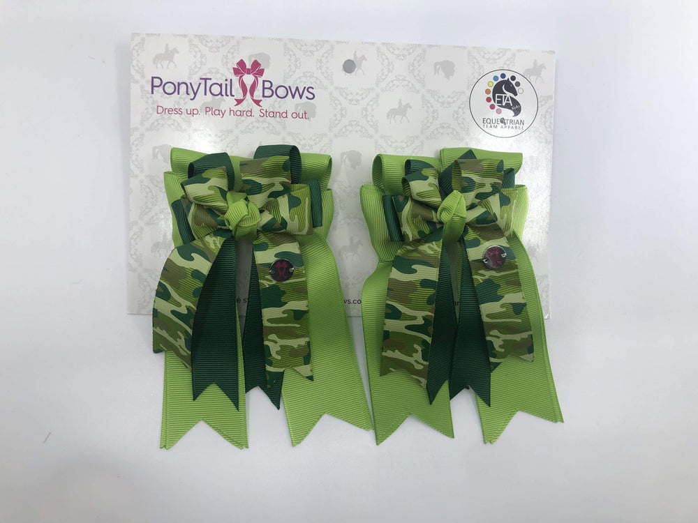 Light Green Camo PonyTail Bows