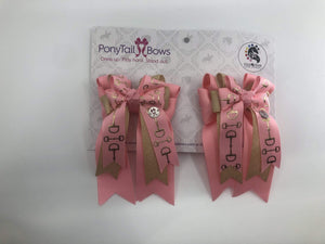 "PonyTail Bows 3"" Tails Pink Gold Bits PonyTail Bows equestrian team apparel online tack store mobile tack store custom farm apparel custom show stable clothing equestrian lifestyle horse show clothing riding clothes PonyTail Bows 