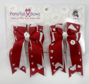 Red & White Heart Cut Outs PonyTail Bows
