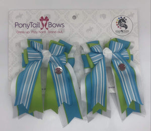 "PonyTail Bows 3"" Tails Turquoise Stripes PonyTail Bows equestrian team apparel online tack store mobile tack store custom farm apparel custom show stable clothing equestrian lifestyle horse show clothing riding clothes PonyTail Bows 