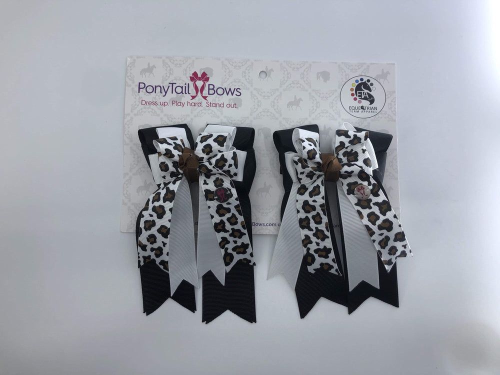 White Leopard PonyTail Bows