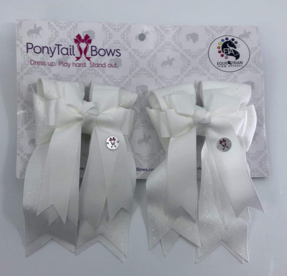 White Solid PonyTail Bows