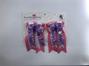Zebra Purple PonyTail Bows