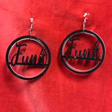Load image into Gallery viewer, The Funk Earrings in black and frosted acrylic.