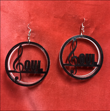 Load image into Gallery viewer, Let everyone know you've got soul with these amazing black and frosted acrylic earrings!