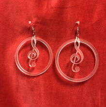 Load image into Gallery viewer, Music notes in earrings in frosted acrylic